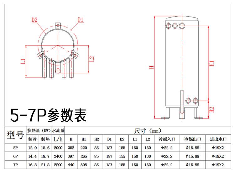 4-7匹双水路高效罐换热器参数表